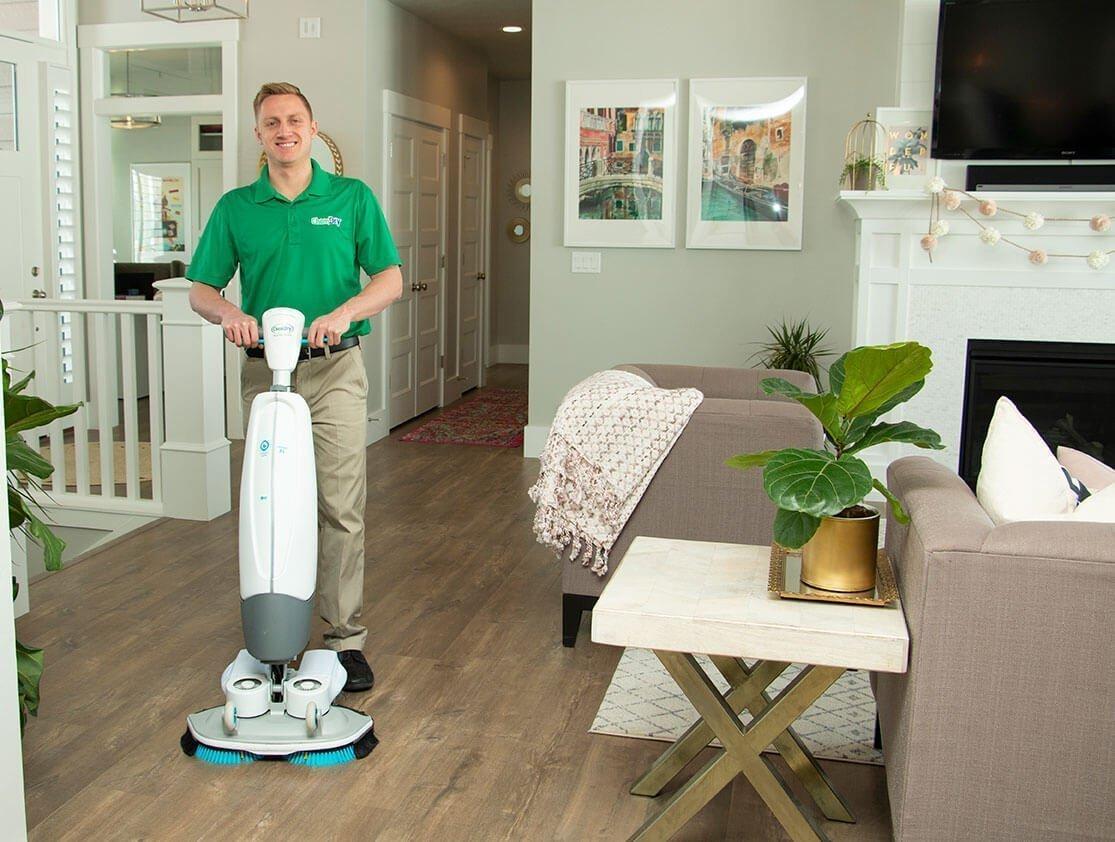 wood floor cleaner at work