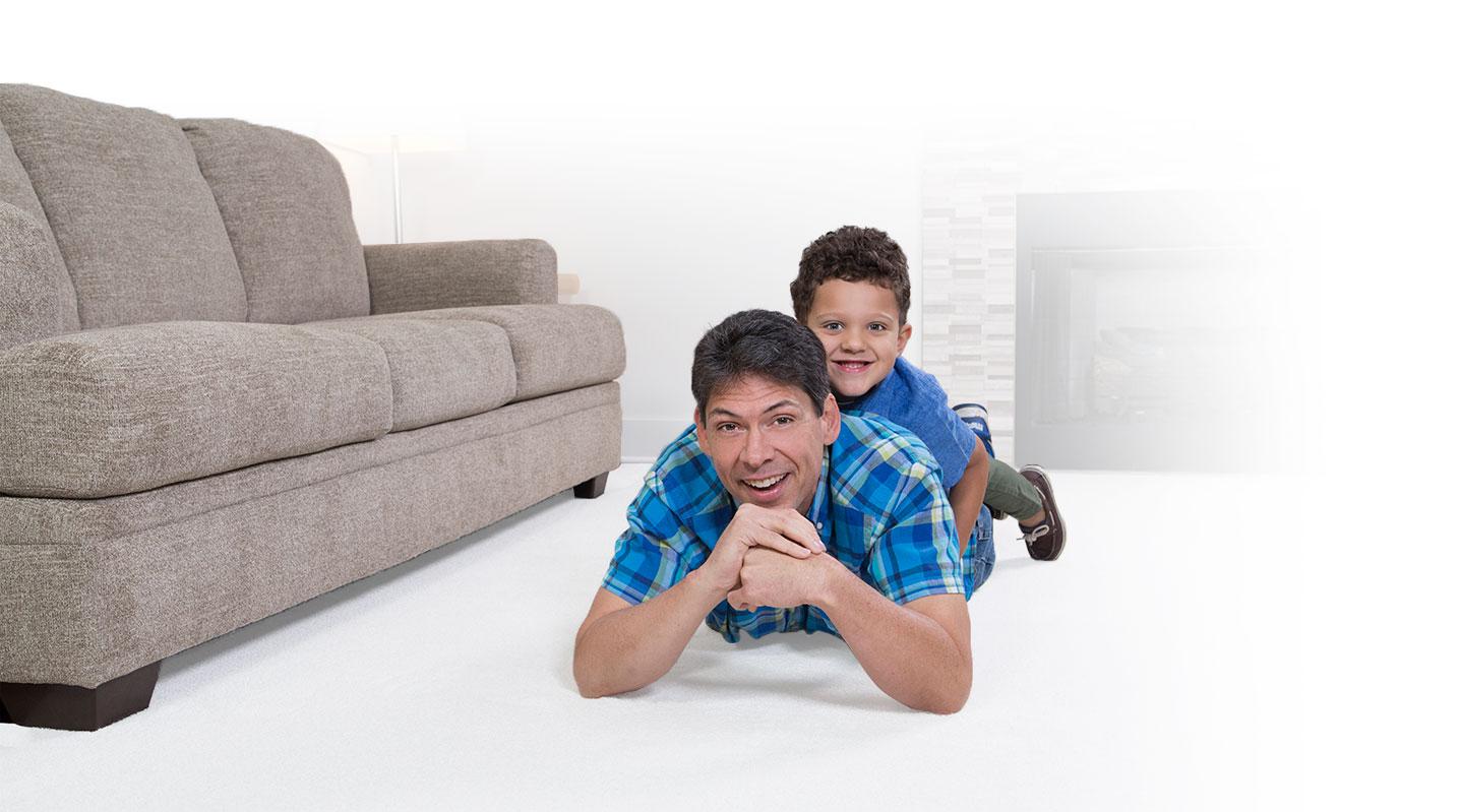 family enjoying clean carpet